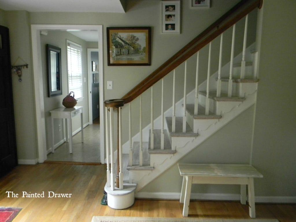 Whitewashed Stairs at www.thepainteddrawer.com
