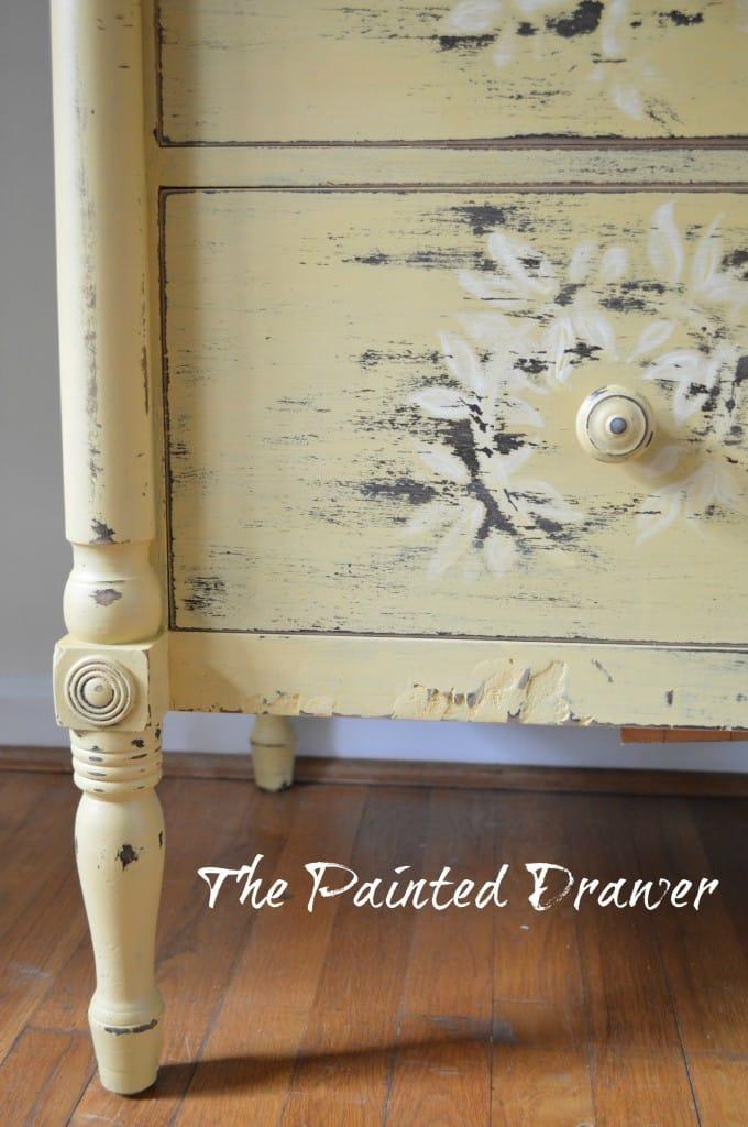 Vintage Mustard Dresser www.thepainteddrawer.com