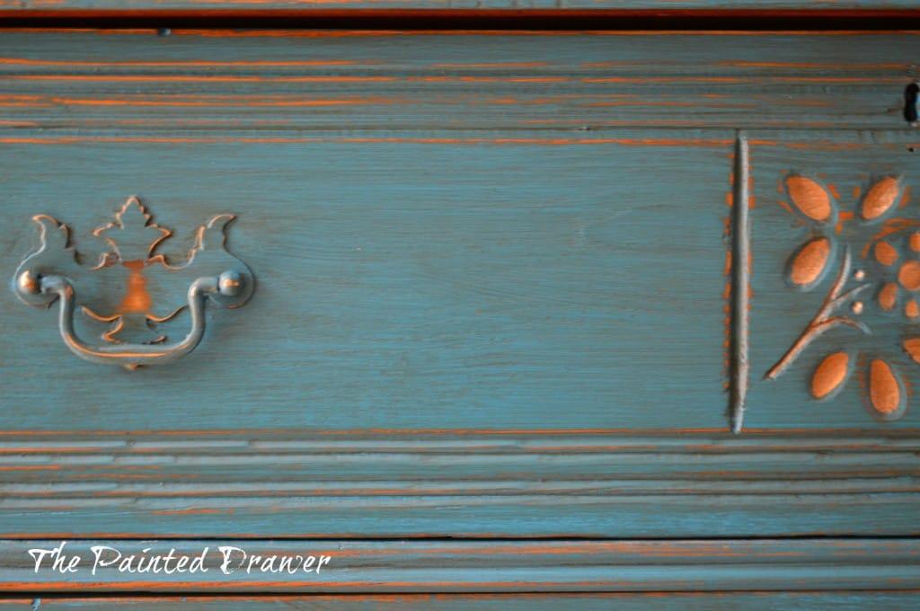 Antique Gold Flower Dresser www.thepainteddrawer.com