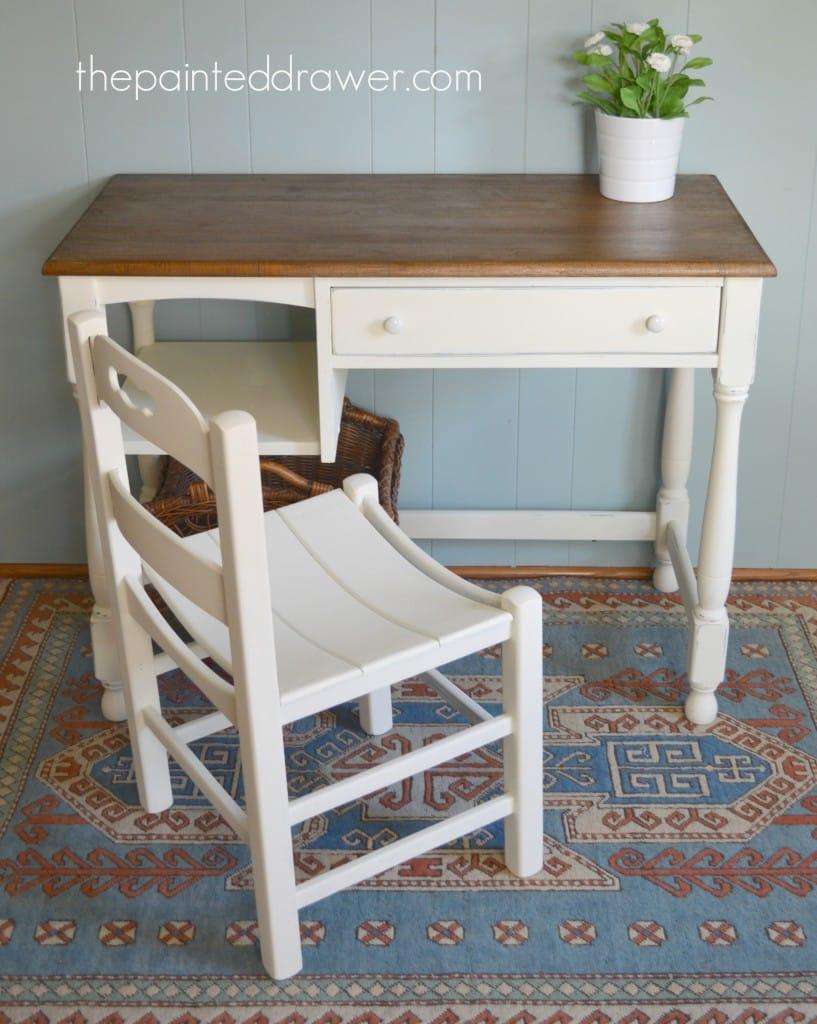 Vintage Desk and Planked Chair www.thepainteddrawer.com