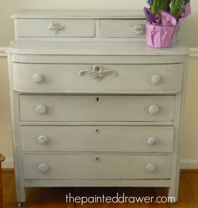 Gray Vintage Dresser www.thepainteddrawer.com