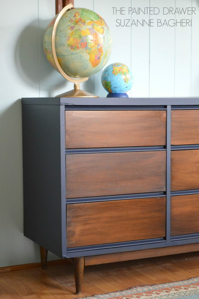 A mid century modern dresser before and after the for Painted mid century modern furniture