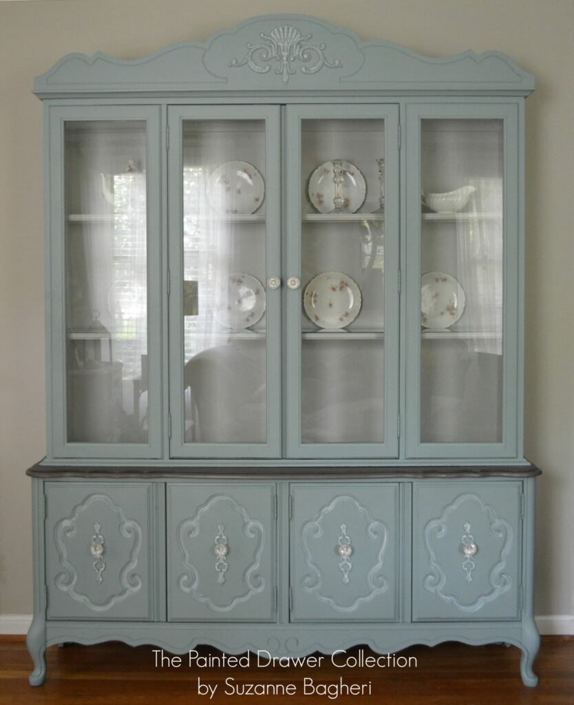 the vintage bassett china cabinet before and after. Black Bedroom Furniture Sets. Home Design Ideas