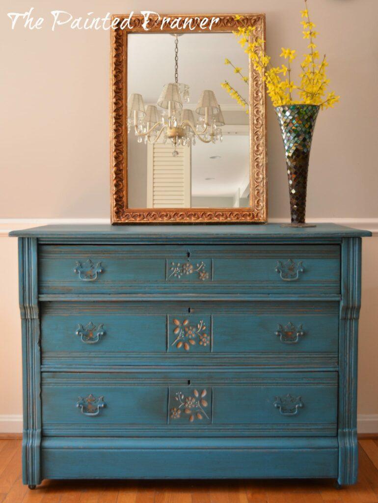 General Finishes Cornith Blue dresser www.thepainteddrawer.com