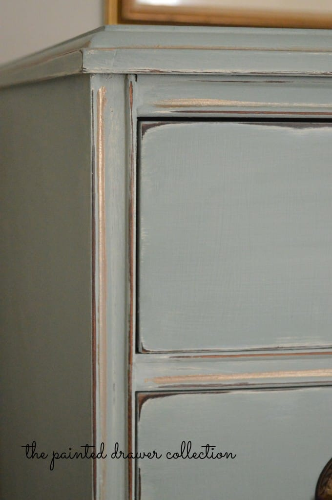 Vintage Dresser in Duck Egg Blue and Gold thepainteddrawer.com