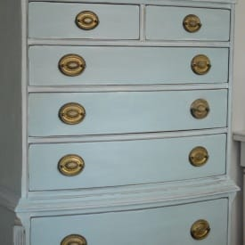Hepplewhite Chest of Drawers in Annie Sloan chalk paint Duck Egg Blue by Suzanne Bagheri at www.thepainteddrawer.com
