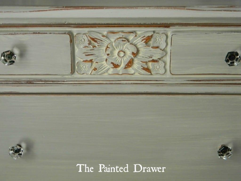 Vintage Dresser in Annie Sloan Paris Grey www.thepainteddrawer.com
