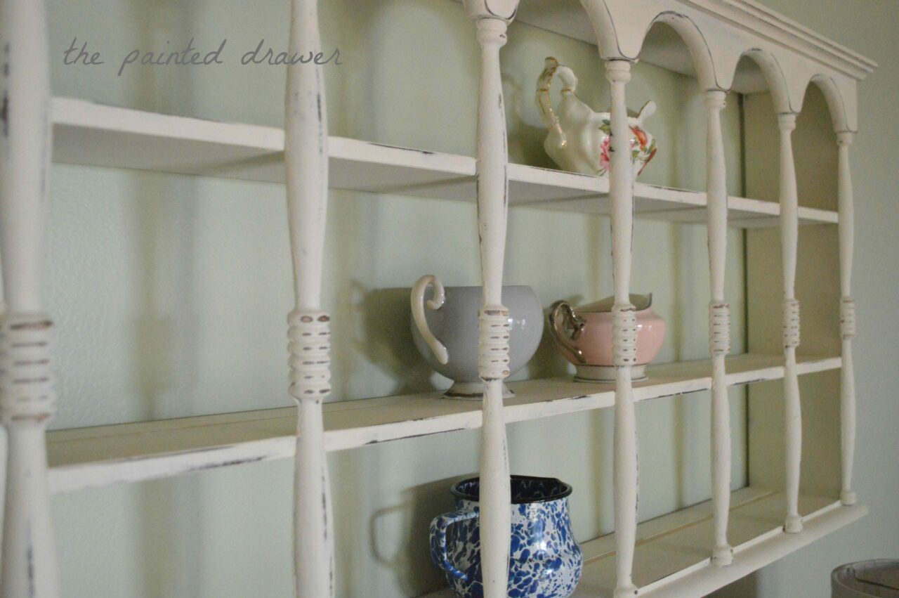 thrift store shelf painted white