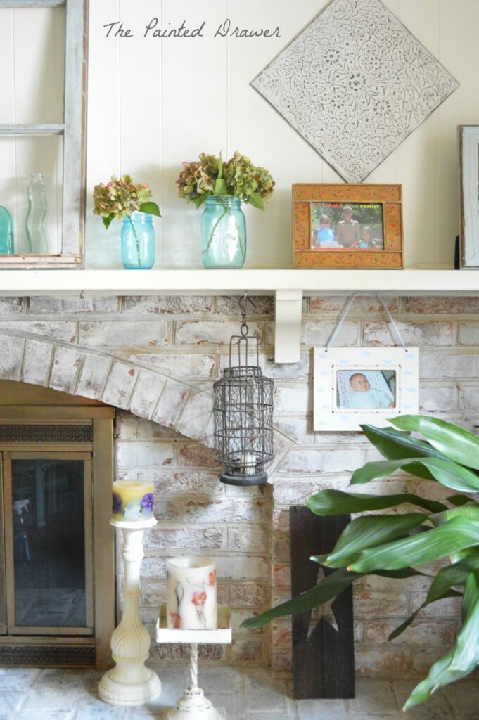 Whitewashed Brick in Annie Sloan Old White chalk paint by Suzanne Bagheri at www.thepainteddrawer.com