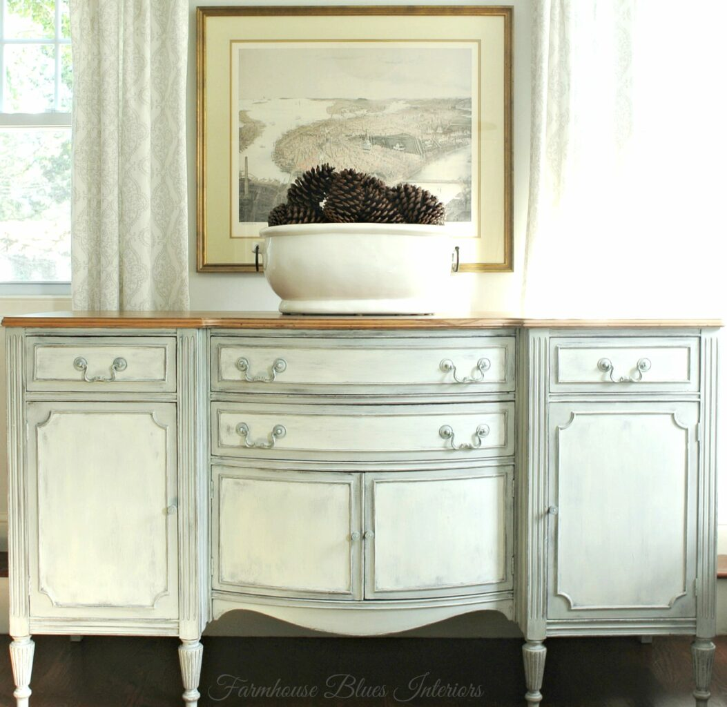 Painted buffet table furniture - The Painted Drawer Link Party