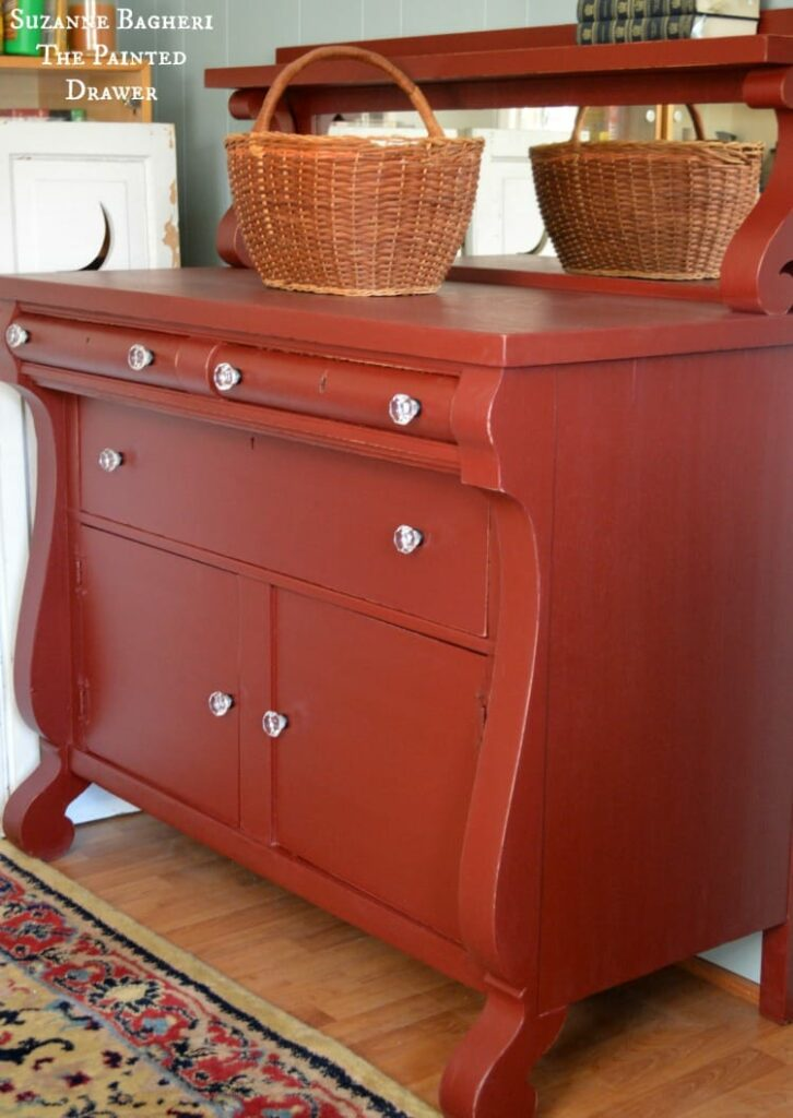 Empire Chest, vintage chest, vintage painted dresser in red, general finishes