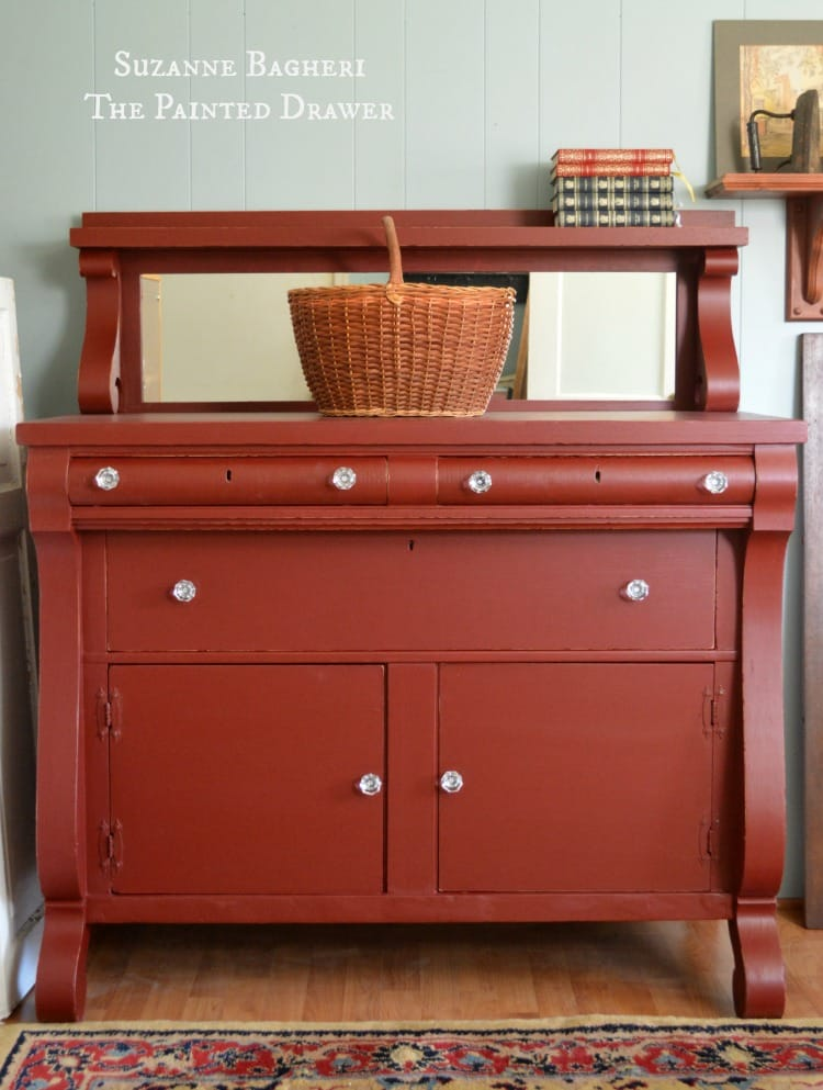 Vintage Empire Bureau in General Finishes Rembrandt Red paint by Suzanne Bagheri