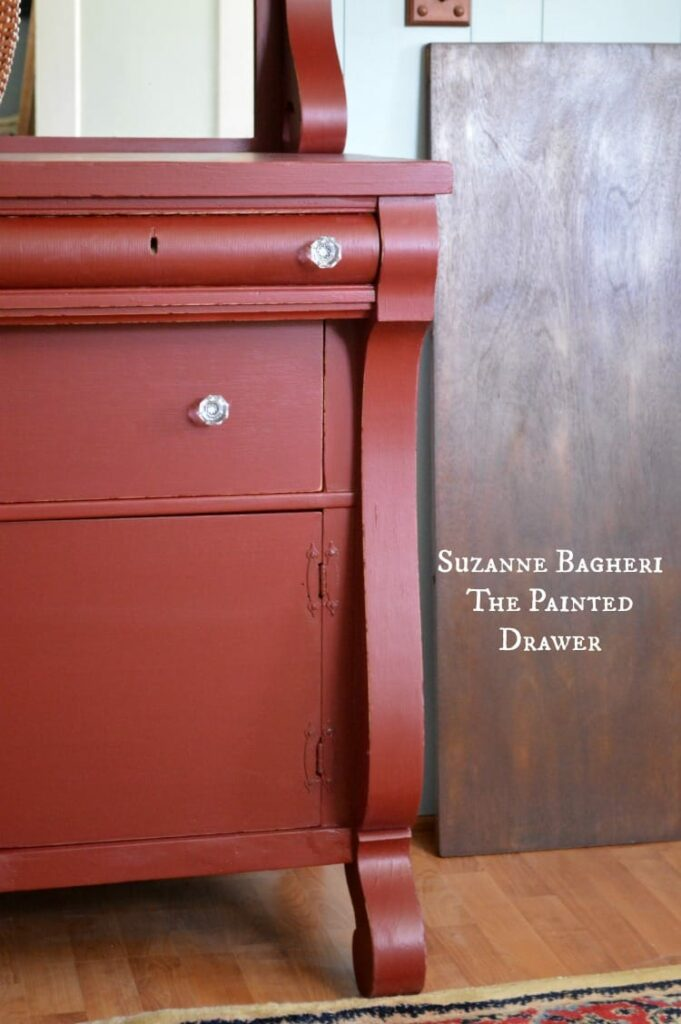 Vintage Empire Style bureau painted in deep red by Suzanne Bagheri