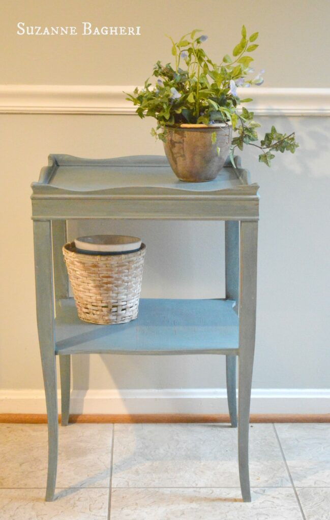 Vintage Table painted in Annie Sloan Aubusson Chalk Paint by Suzanne Bagheri