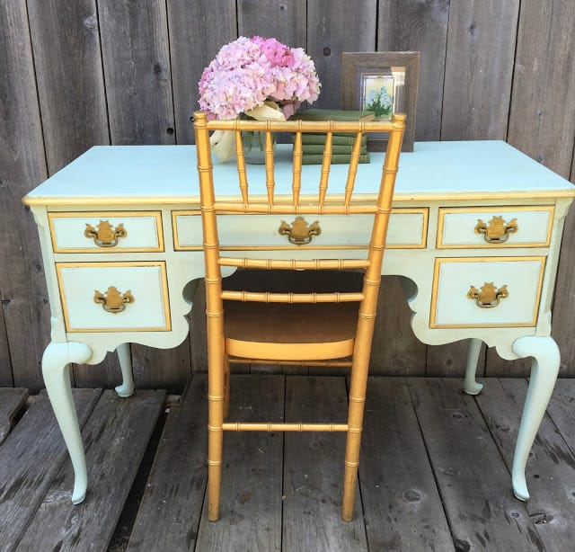 DD's Cottage and Design French Provincial Desk and Chair shared by The Painted Drawer Link Party