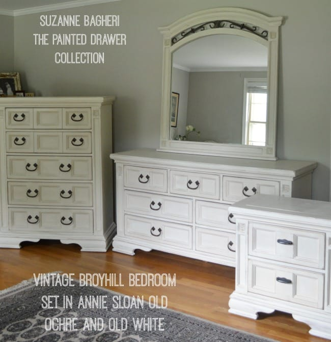 Broyhill Bedroom Set in Old Ochre and Old White Annie Sloan chalk paint by The Painted Drawer