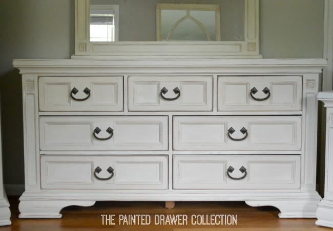 Long Broyhill Dresser in Old Ochre and Old White