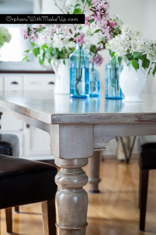 Rustic Dining Table by Mary at Orphans with Makeup featured by Tell Us Tuesday