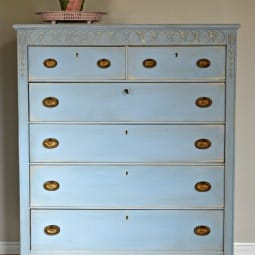 Louis Blue Vintage Dresser Before and After