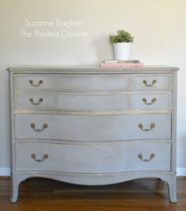 Vintage Bow Front Dresser Before and After