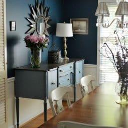 Stillwater Blue Sideboard in a Rainstorm Dining Room